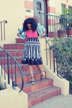 OUTFIT: Jean Jacket + Skirt w/ Bold Print #NaturalHair