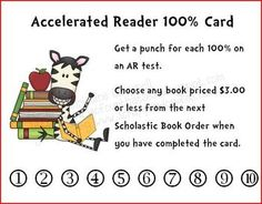 Accelerated Reader AR Punch Cards Incentive