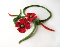 Felted necklace poppy red   flower  gift under 50