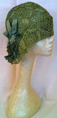 1920s Green Woven Helmet Cloche with Velvet Art Deco Trimming