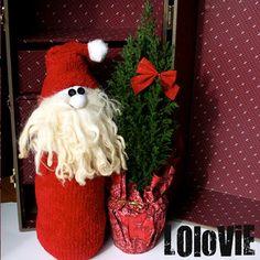 holiday, idea, christma sock, lolovi, christma decor, socks, sock santa, christma craft, sock craft