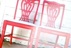 Cozy in Coral Bright Painted Dining Chairs by FriendlyForestFarms, $225.00