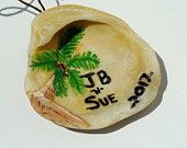 Hand painted Personalized Seashell Christmas Ornament with Palm Tree, All Things Coastal South Padre Island Holiday Decor