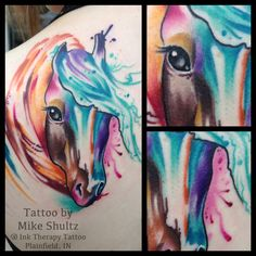 watercolor paint horse tattoo by Mike Shultz @ Ink Therapy Tattoo in Plainfield, IN.