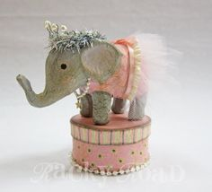 Ballerina Elephant with Pink Tutu by RackyRoad on Etsy