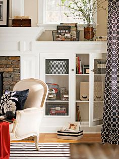 Labeled baskets make this built-in bookcase tidy and functional.