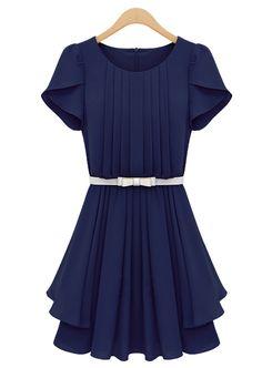 Blue Ruffles Short Sleeve Pleated Chiffon Dress - Sheinside.com