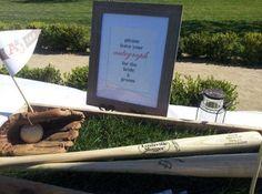 Unique guestbook idea for a baseball wedding!