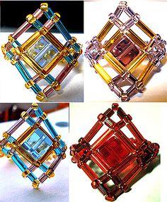 Beaded Cube Bead Diamond-Shaped Ring Pattern by Allegra