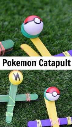 Pokemon Catapults - fun catapult craft for kids #scienceforkids #lollystickcatapult #pokemon