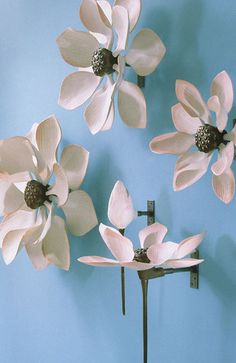 porcelain and metal lotus flower sculptures by nancy blum (could make this with plastic spoons)