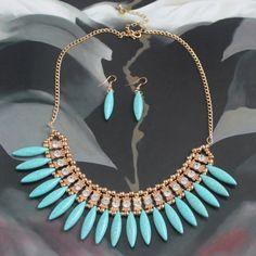 Tribal Fringe Turquoise Rhinestone and Gold by UnderCoverFashLover, $28.00