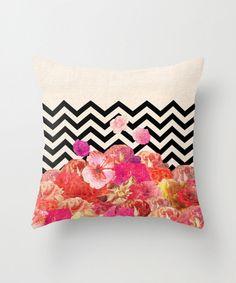 Floral + Chevron Print Pillow dotandbo.com