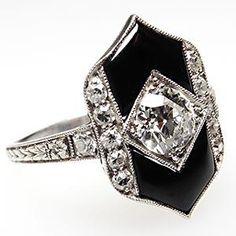 Art Deco Antique Old Euro Diamond & Onyx Engagement Ring Solid Platinum