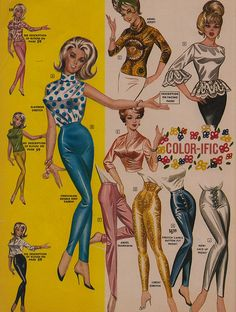 Color-ific Separates, Frederick's of Hollywood, 1964 // Hello, Lurex capris!