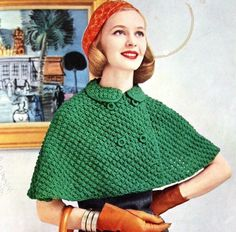 1950s, knitting patterns, color, capes, peter pan collars, dress up, crocheted blankets, knit capelet, vintage green