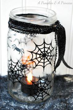 Holiday Crafts With Mason Jars | Fall Holiday Craft Ideas 2012 / Spiderweb mason jar lantern from {A ... jar crafts, spiderweb mason, jar lantern, halloween crafts, mason jar candles, holiday crafts, fall holidays, mason jars, craft ideas