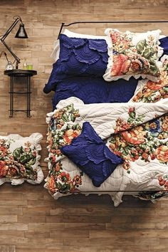 Feminine and eclectic guest room bedding