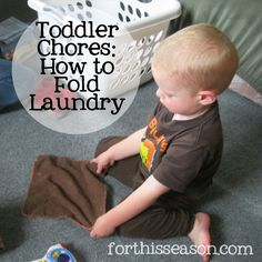 How to Teach Your Toddler to Fold Laundry - Montessori Practical Life Lesson from forthisseason.com