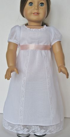 White Regency Gown for American Girl Doll Caroline Abbott