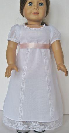 White Regency Gown for American Girl Doll Caroline Abbott
