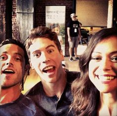 Dylan Bruce, Jordan Gavaris, and Tatiana Maslany on set of Orphan Black