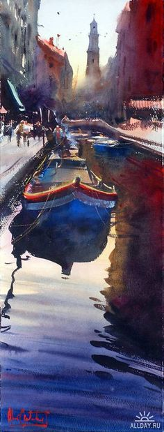 Beautiful watercolor by Alfaro Castagnet with lots of contrast.
