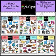 L Blends Clip Art Mega Bundle from Educlips on TeachersNotebook.com -  (154 pages)  - L Blends Clip Art Mega Bundle
