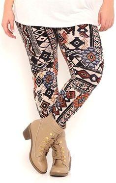 Deb Shops plus pieced tribal cotton spandex legging $20.00