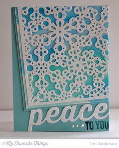 Merry Messages, Peace Joy Love Die-namics, Snowflake Fusion Cover-Up Die-namics - Teri Anderson #mftstamps