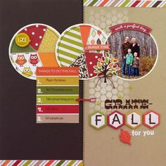 Grate-Fall for You  **My Creative Scrapbook** - Scrapbook.com - Amazing split page design with fun circular photo and great title work!