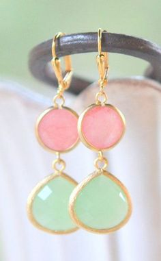 Bridesmaids Earrings in Mint and Coral Pink in Gold