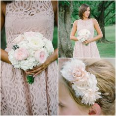 Lace Bridesmaid Dress and Bouquet