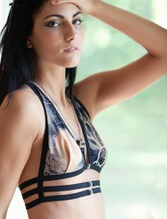 """Harness """"Triad"""" Bra - Elastic Banding, Metal Buckles and Branches Jersey. $75.00, via Etsy."""
