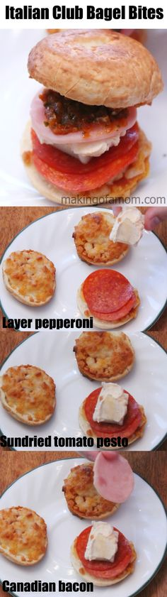 Sweet and Savory After School Snacks; with quick and easy addition you can turn Bagel Bites into yummy Italian Club Bagel Bite sandwiches. #shop