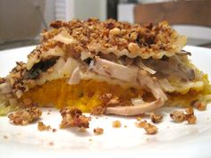 Vegan Butternut Squash Lasagna walnut crumb, butternut squash, squash lasagna, walnut top, crumb crust, creami butternut, mushroom lasagna, mushrooms, crusts