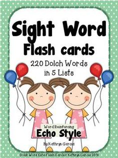 Download all 220 Dolch Sight Word 'Echo Style' Flash Cards in one package. Have all lists available to differentiate your instruction from pre-primer through 2nd grade with color-coded lists. $