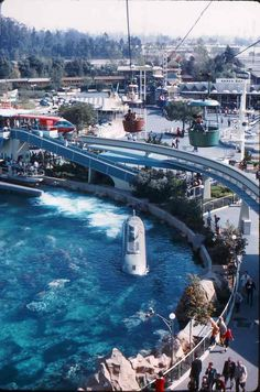 Disneyland Submarine Voyage and Tomorrowland from Skyway, 1960