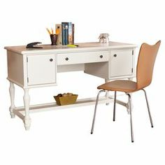 """Showcasing 2 cabinets and a lower display shelf, this timeless 1-drawer desk makes the perfect addition to your home office or library.    Product: DeskConstruction Material: Engineered woodColor: Off-whiteFeatures:  Aged pewter hardwareTwo cabinetsOne drawerOne shelf along the bottom Dimensions: 30.75"""" H x 52"""" W x 22"""" D"""
