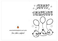 Angry Birds Happy Birthday Coloring Card Sketch Page