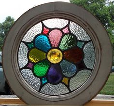 victorian daisey round leaded stained glass window
