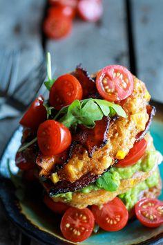 Avocado and Gouda BLT Corn Fritter Stacks with Chipotle Bourbon Dressing   halfbakedharvest.com