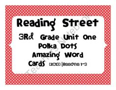 Reading Street Common Core 2013-Amazing Word Cards-Grade 3-Unit 1-Lessons 1-3 FREE from Reading Street Creations on TeachersNotebook.com -  (11 pages)  - Reading Street Common Core 2013 Amazing word cards created for lessons 1-3 in unit 1 of the 3rd grade edition. If you like these look for the full version I have created. Each unit has color coded word cards.