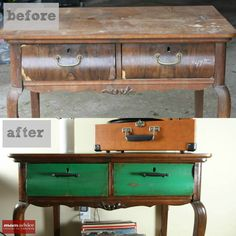 Mom Advice saw the potential in this beat up side #table and gave it an incredible #facelift with #Cabot Premium Wood Finish #Stain + Sealer in Espresso and some Cabot Pre-Stain #Wood #Conditioner.