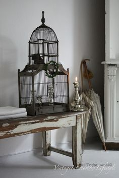 pure elegance and glamourous in our home #antiquebirdcage
