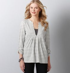 have this same shirt in coral and it is such a great fit! Love the stripes.