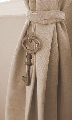 vintage keys as curtain tie backs!