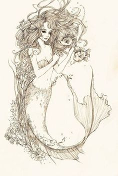 Mermaid tattoo -would be cool if tail and hair could be the outline of somthing else like a hidden picture like the love of her dreams....