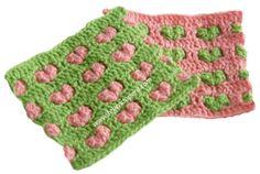 Tutorial: punto fantasía con corazones en relieve tejido a crochet!