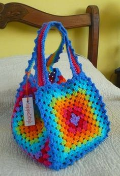 b rainbow bag, plastic bags, inspiration, crochet bags, colors, rainbows, granny squares, tote bags, purses